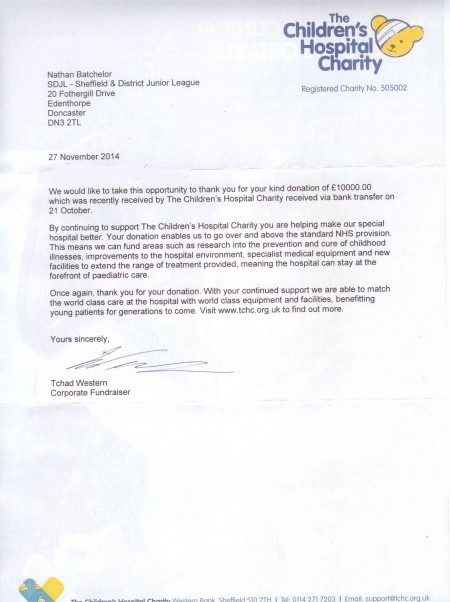 Sheffield district junior football league news thank you thank you letter from the childrens hospital charity expocarfo Images