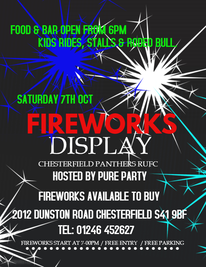 firework display chesterfield panthers