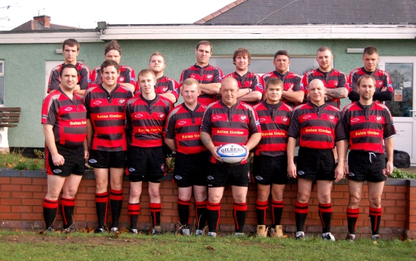 Back row, from left; Michael Douglas, Jon Hall, Chris Cook, Dave Morris, Dave King, Paul Harrison, Tom Hill, Adam Bennett.