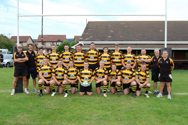 Back Row - Brad Speller (Team Manager), Jack Gadd (Backs Coach), James Leatherby, Darran Griffiths, Stuart Vinnicombe, Jake Ferreday, Phil Hogarth, James Collings, Joe Gadd, Alec Chase (Forwards Player Coach), James Gould, Ade Smart (Physio), Jamie Biddle (Backs Coach)