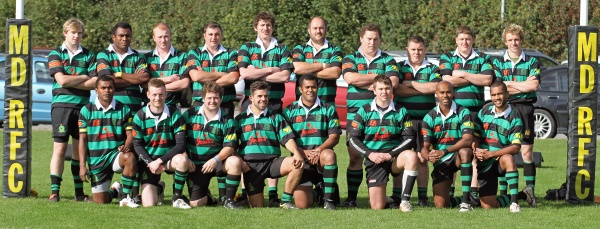 Back Row L-R, Jack Timmis, Panapasa Matanisiga, Sean Roberts, Mike Felton, Captain - Tom Knight, Gordon Gray, Craig Woolley, Vice Captain Stu Williams, Adam Hardy, Matt Eardley. 