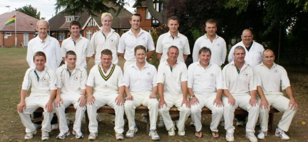 Back row: (Left to right) Bob Woodmanse (Umpire), Alex Woods, Huw Thomas, Simon French, Rowan Ames, James Moss (Vice-Captain), Darren Owen (Umpire)
