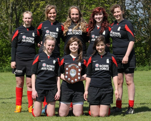Girls U18's Barracudas 7's team with the North East 7's Sheild won at Mowden Park. Back Row Suzanne, Harriott, Sophie, Lauren and Lucie.