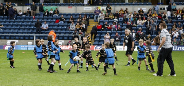 Two of our U7 teams playing each other at half time at Wasps versus Tigers on 11 Sept 2011