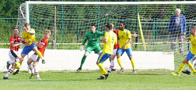 Spa defending vs Tividale (A) photo courtesy of Mathew Mason
