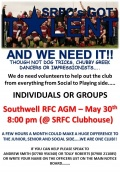 Southwell RFC AGM Thursday 30th May 2013 - 8pm
