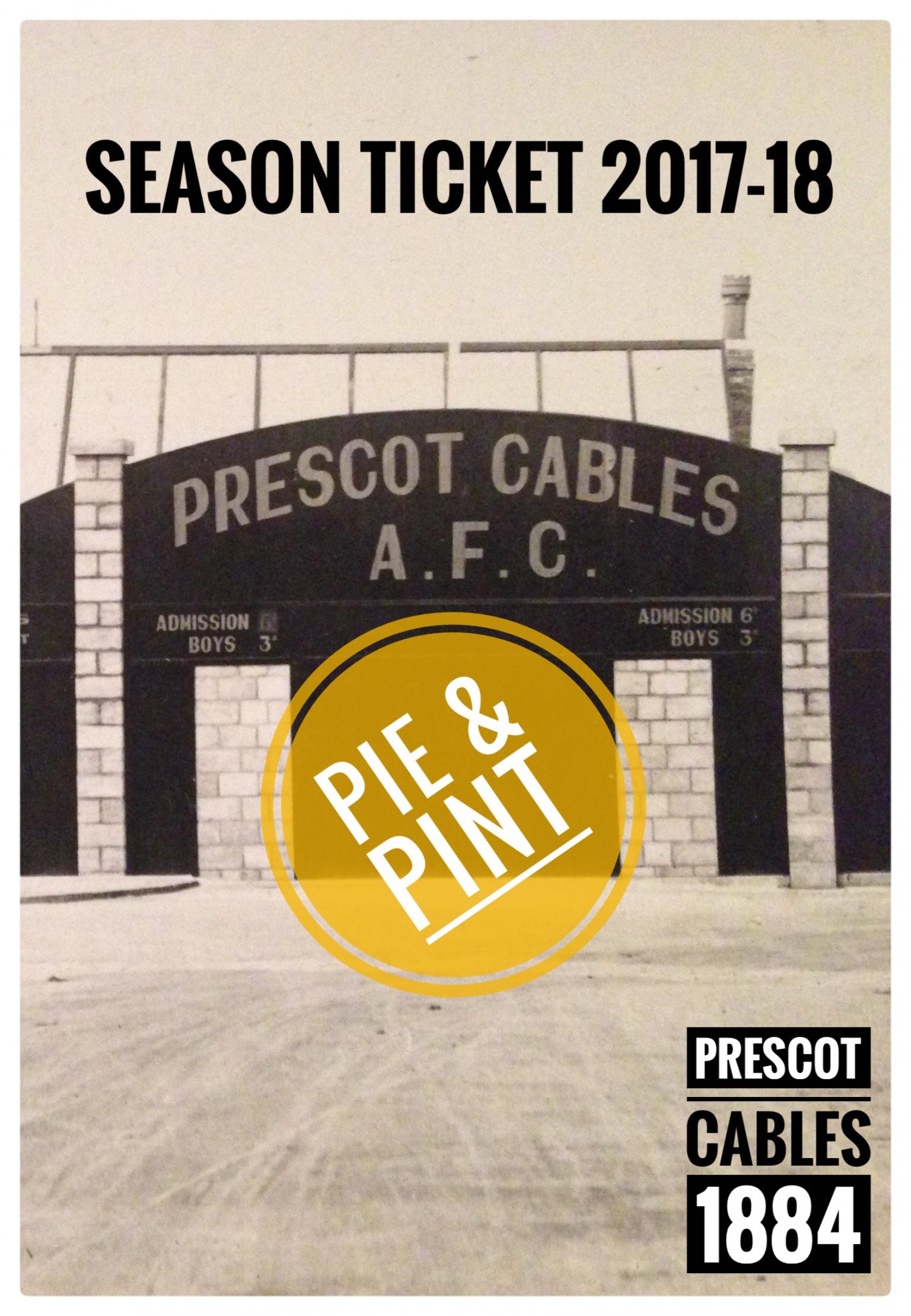 Image: Concessions Pie & Pint Season Ticket 17-18