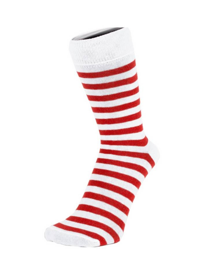 Image: Red & white hooped socks