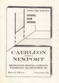30th September 1981 (Caerleon v Newport) - Official Club Opening Programme still
