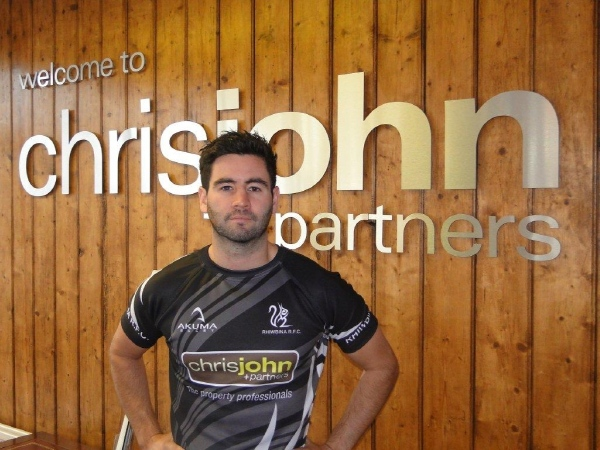 New second team shirt sponsored by Chris John and Partners (www.chrisjohn.co.uk) modelled by Rhiwbina player and Chris John employee Chris Case