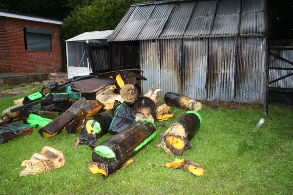 Storage shed set on fire, all kit destroyed image