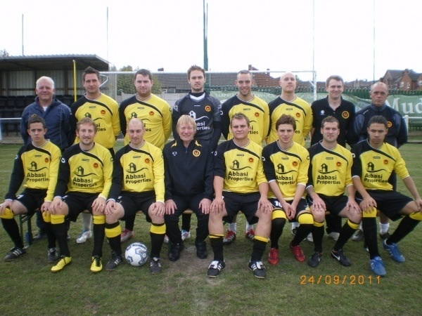 Back Row: Mark Ramsden (Assistant Manager), Lewis Pearce, Danny Reet, Luke Hands, Jon Roper, Andy Taylor, Richard Williams(?), Colin Matthews (1st Team Coach)