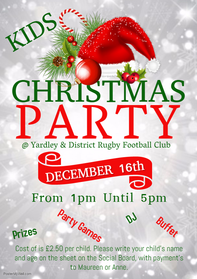 Kids Christmas Party - Yardley and District RFC