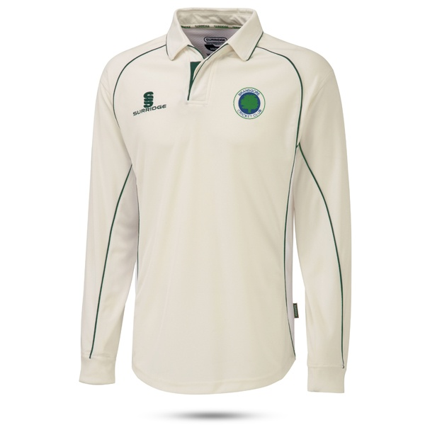 Image: Adults Surridge Premier Long Sleeve Cricket Shirt (Cream/Green)