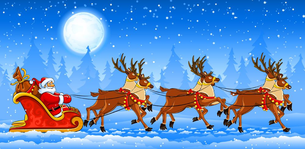 Santa sleigh Royalty Free Vector Image - VectorStock