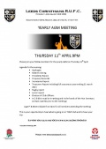 AGM Thursday 11th April 9pm