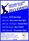 2013 SOCIAL EVENTS AT GOTHAM VILLAGE CRICKET CLUB