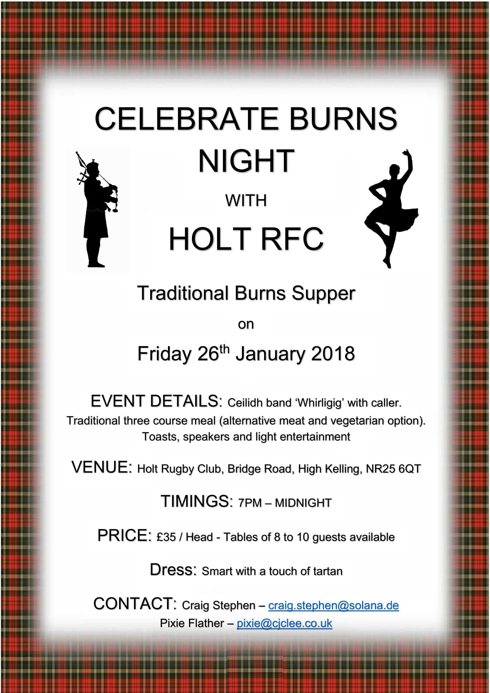 Celebrate Burns Night with Holt RFC Holt Rugby Football Club