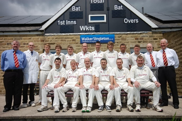 Back Row: John Scholefield(Secretary), Jonathan Hyland(Club Umpire), Simom Wood, Will Thickett, Lewis Firth, Bill Keighley, Ross Benson, Matthew Scholefield, Tom Conway, George Hampshire, Alan Keighley(Scorer), Allen Hampshire(Treasurer).