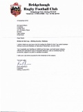 Thank You Letter from Stirling County RFC image