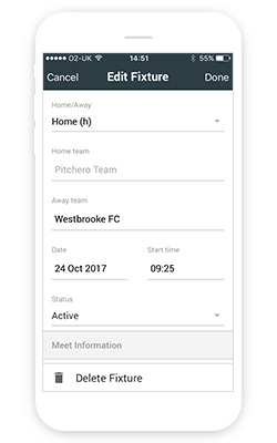 Match information screen on manager app
