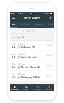 Match centre screen on manager app