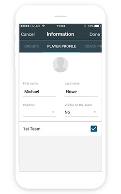 Editing a player profile in the Manager app