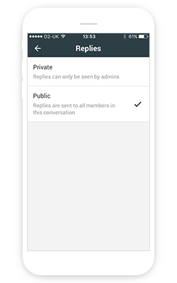Composing a private message in the Manager app