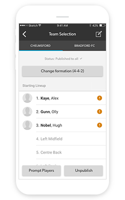 Publishing a team sheet on the Manager app