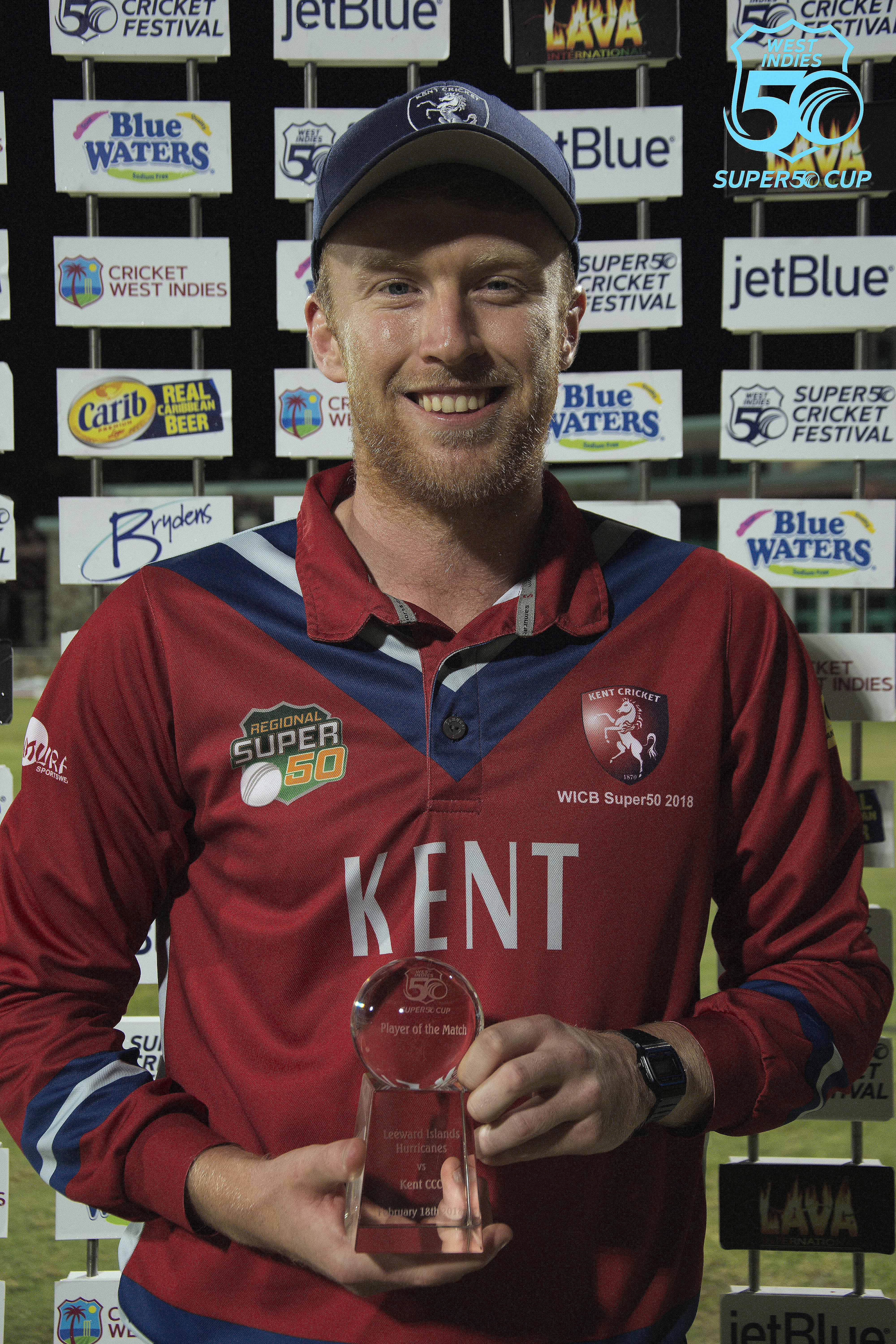 Adam Riley of @kentcricket was Man of the Match with 4/40 vs @leewardscric Hurricanes. Kent earned a 23-run victory via the Duckworth Lewis method securing the last remaining spot in the #Super50 semi-final