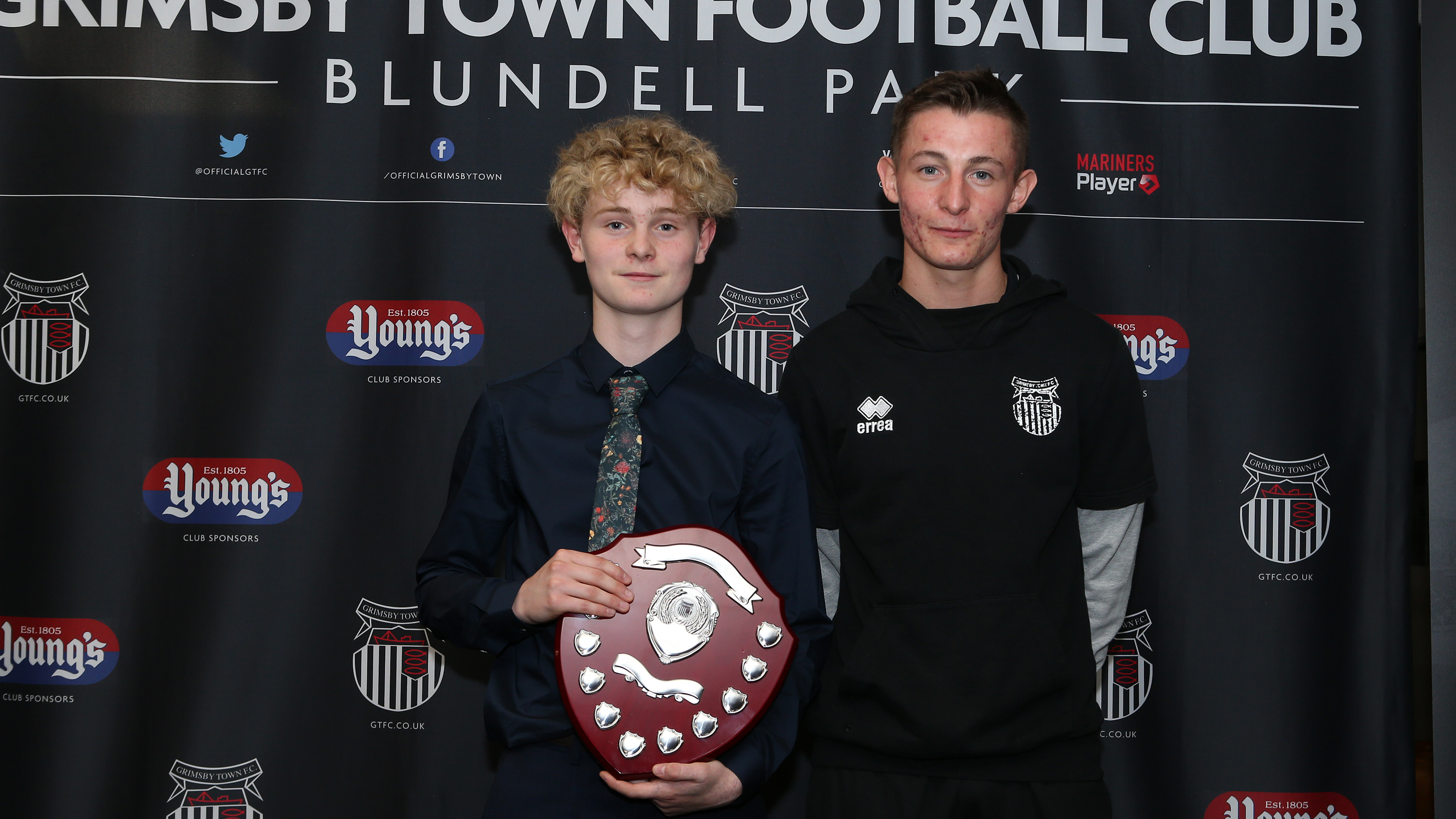 Grimsby Town U15 Player of the Year Harvey Tomlinson with Max Wright
