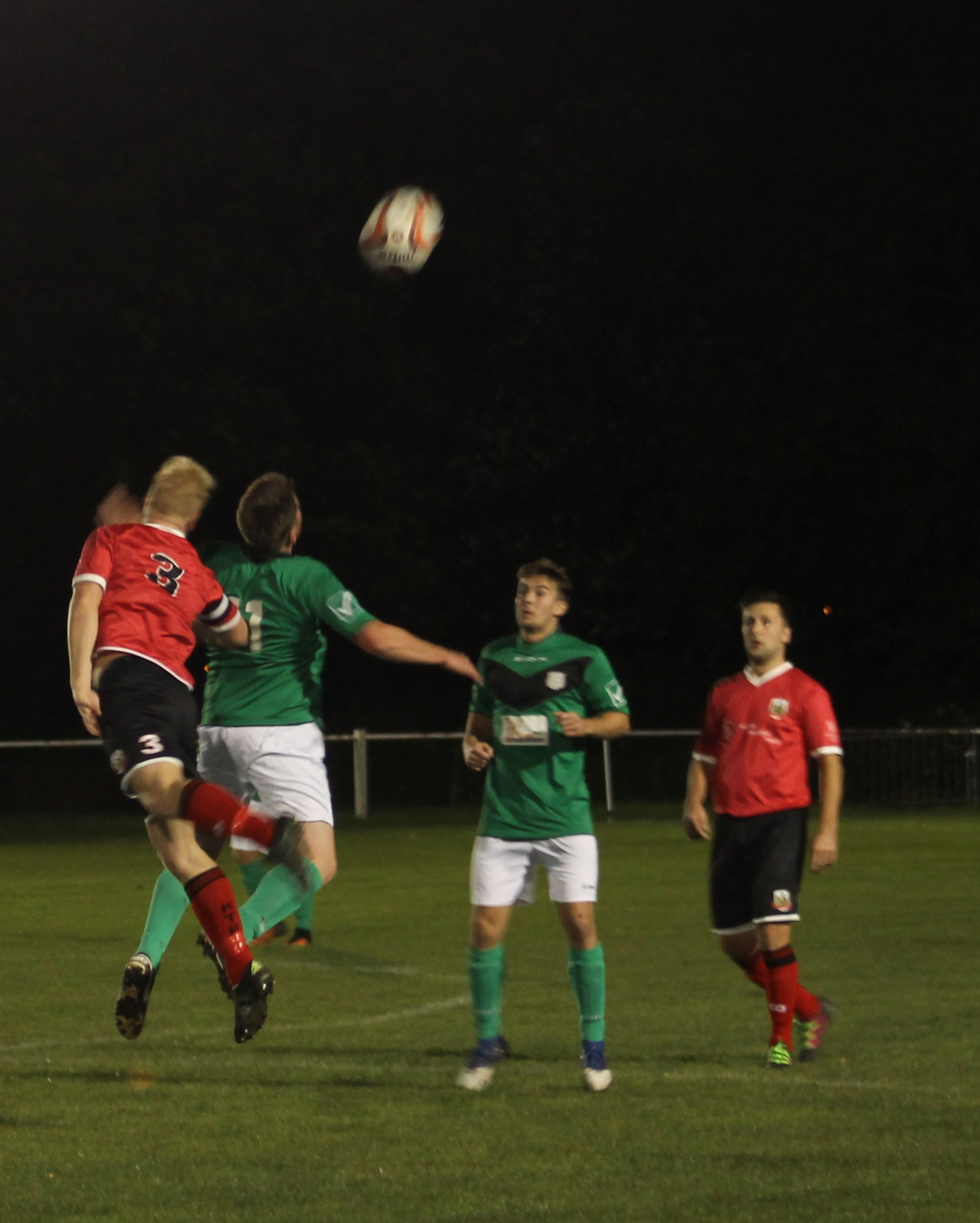 Will Lenehan and Cameron Hill contesting a header.